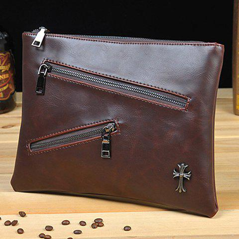 Sale Retro Zips and Cross Design Clutch Bag For Men - COFFEE  Mobile
