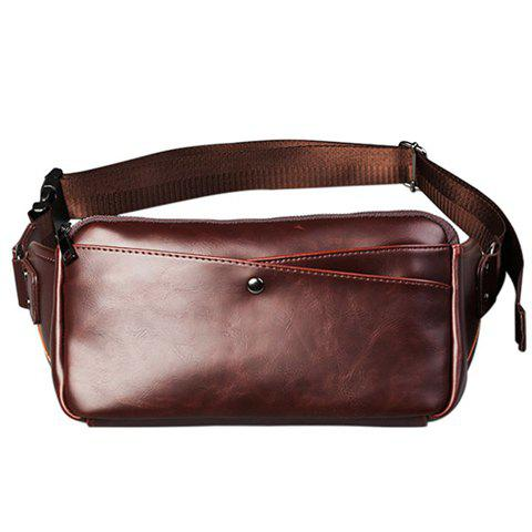 Trendy Casual PU Leather and Solid Color Design Messenger Bag For Men