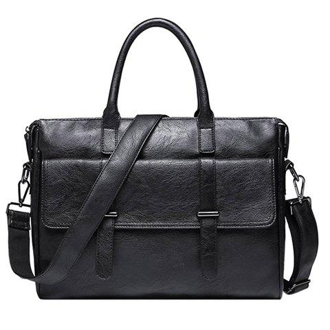Fancy Retro Black and PU Leather Design Briefcase For Men
