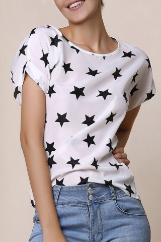 Chic Stylish Short Sleeve Scoop Collar Star Print Chiffon Women's Blouse