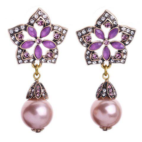 Outfits Pair of Faux Gem Pearls Decorated Pentagram Flower Earrings