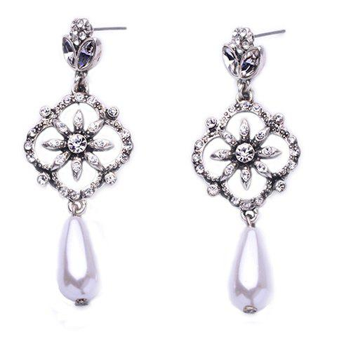 Hot Pair of Stylish Faux Crystals Rhinestone Decorated Flower Water Drop Earrings For Women