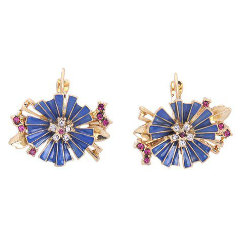 Fashion Pair of Retro Rhinestone Decorated Leaf Flower Shape Earrings