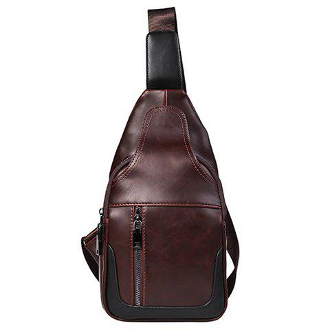 Chic Vintage Stitching and Zips Design Messenger Bag For Men