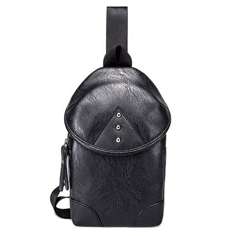 Latest Leisure Black and PU Leather Design Messenger Bag For Men