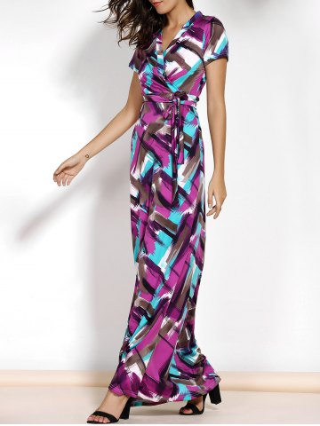 Cheap Argyle Printed Belted Maxi Dress With Short Sleeve COLORMIX XL