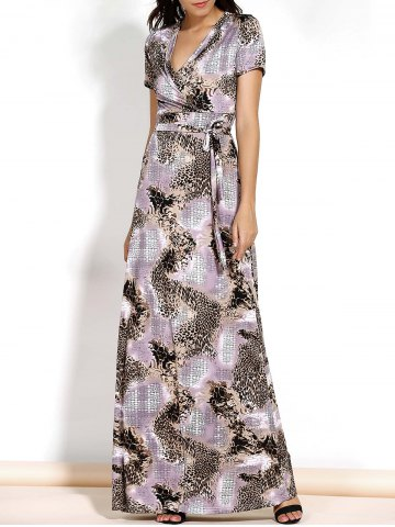 Fashion Chic V-Neck Short Sleeve Leopard Print Spliced Belted Maxi Dress For Women