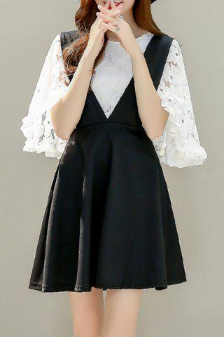 Online Sweet Flare Sleeve Lace Blouse and Black Suspender Skirt Women's Twinset