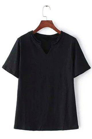 Trendy Casual V-Neck Pure Color Short Sleeve T-Shirt For Women