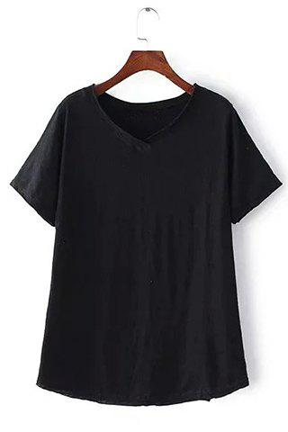 Cheap Brief V-Neck Pure Color Short Sleeve T-Shirt For Women