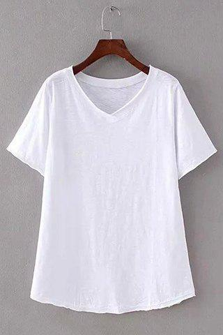 Sale Brief V-Neck Pure Color Short Sleeve T-Shirt For Women
