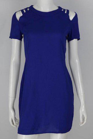 Latest Chic Round Collar Hollow Out Solid Color Short Sleeve Dress For Women