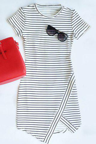 Outfit Asymmetrical Striped T-Shirt Short Bodycon Dress WHITE AND BLACK L