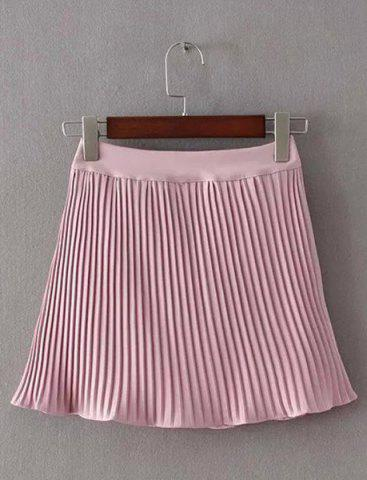 Fashion Brief Pleated Solid Color Mini Skirt For Women
