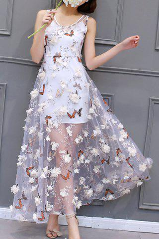 Fashion Charming Scoop Neck Sleeveless Butterflies Pattern Dress + Pure Color Sundress Twinset For Women
