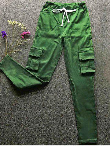 New Drawstring Waist Big and Tall Cargo Pants GREEN S