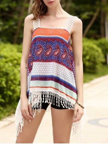 Fancy Ethnic Strappy Fringed Print Chiffon Top For Women