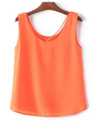Chic Strap Front Chiffon Tank Top