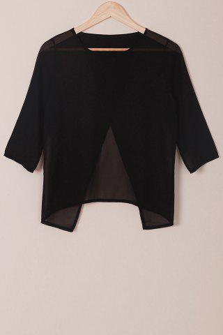 Shops Round Neck 3/4 Sleeve Furcal Short Chiffon Blouse
