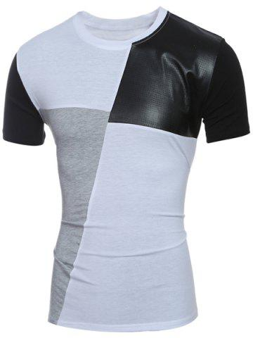 Trendy Laconic Round Neck Color Block PU-Leather Spliced Short Sleeve T-Shirt For Men WHITE M
