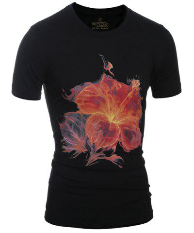 Outfit Slimming Stylish Round Neck 3D Flower Print Short Sleeve T-Shirt For Men BLACK M