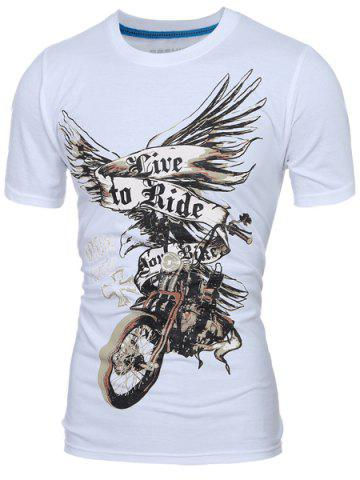 New Stylish Round Neck 3D Eagle Print Short Sleeve T-Shirt For Men WHITE M