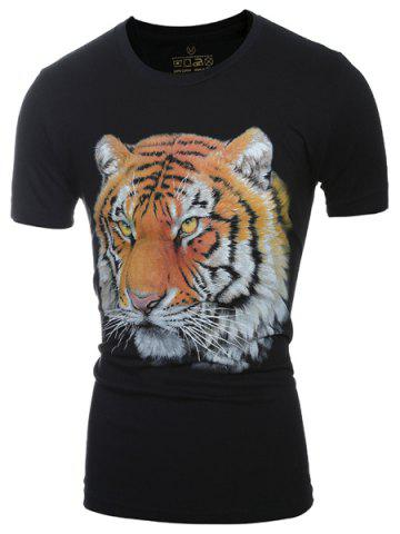 Fashion Casual Round Neck 3D Tiger Head Print Short Sleeve T-Shirt For Men BLACK M