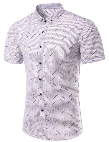 Shop Plus Size Vertical Stripe Print Turn-Down Collar Short Sleeve Shirt For Men