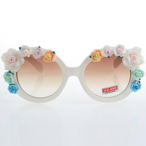 Best Chic Flower Embellished Hot Summer White Sunglasses For Women