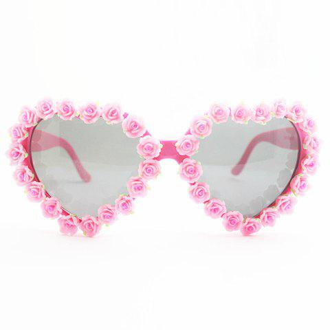 Shops Chic Pink Rose Embellished Hot Summer Heart Shape Frame Sunglasses For Women