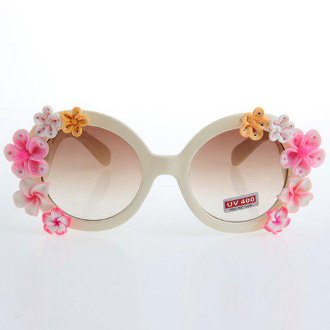Trendy Chic Flower Embellished Hot Summer Beige White Sunglasses For Women