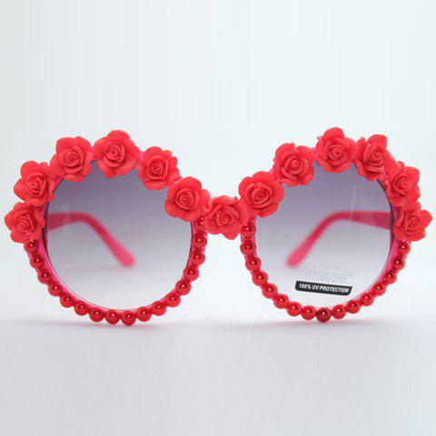 Store Chic Rose Shape and Bead Embellished Hot Summer Red Sunglasses For Women