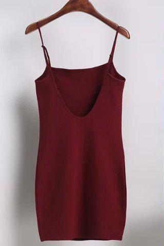 Unique Casual Spaghetti Strap Solid Color Open Back Mini Dress For Women