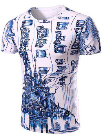 Best Casual Round Neck 3D Abstrat Print Short Sleeve T-Shirt For Men WHITE M