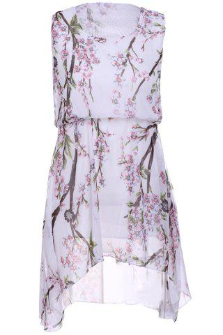 Chic Refreshing Scoop Neck Sleeveless Peach Blossom Print High Low Dress For Women WHITE ONE SIZE(FIT SIZE XS TO M)