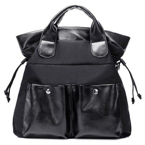 Chic Casual Double Pocket and Black Color Design Tote Bag For Women