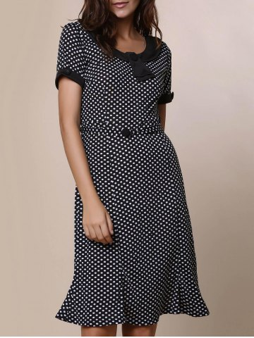 Fashion Vintage Scoop Neck Short Sleeve Polka Dot Women's Fishtail Mermaid Dress