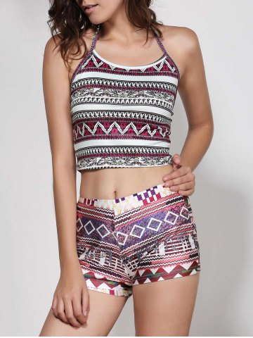 Fancy Halter Geometric Print Crop Top - S GRAY Mobile