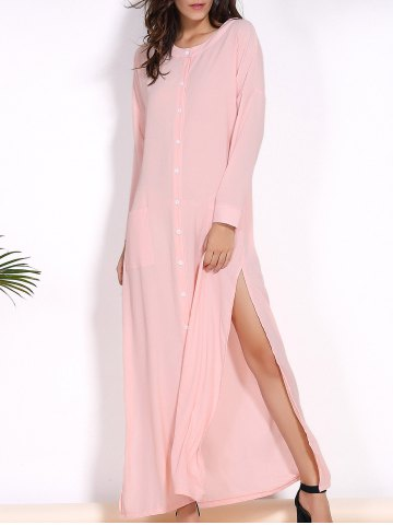 Chic Long Sleeve High Slit Shirt Dress Swimwear - M PINK Mobile