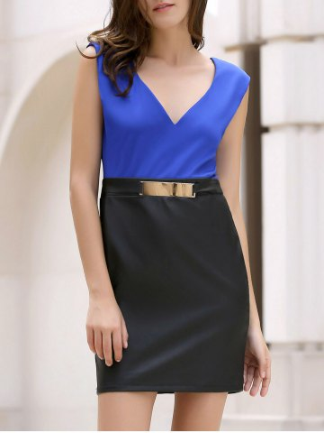 Discount Elegant V-Neck Color Block Sleeveless Dress For Women BLUE M