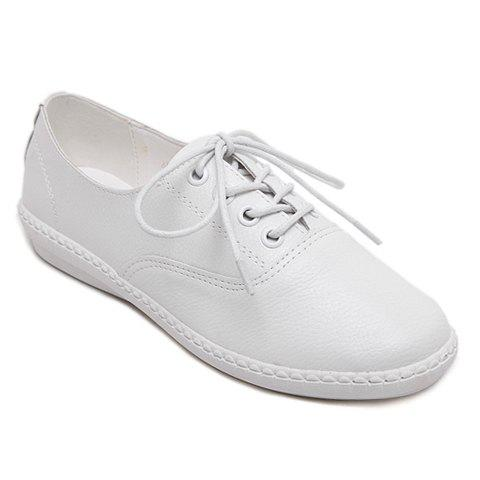 Discount Simple Lace-Up and Solid Colour Design Athletic Shoes For Women WHITE 38
