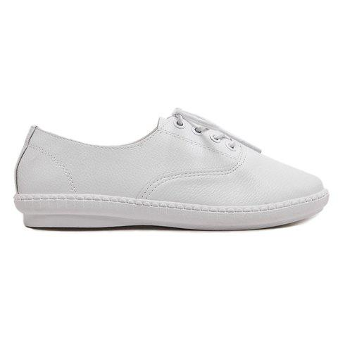 Sale Simple Lace-Up and Solid Colour Design Athletic Shoes For Women - 38 WHITE Mobile