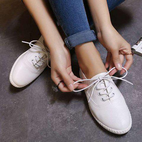 Trendy Simple Lace-Up and Solid Colour Design Athletic Shoes For Women - 38 WHITE Mobile