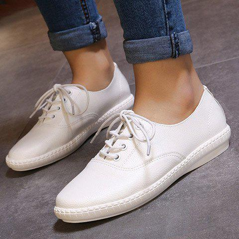 New Simple Lace-Up and Solid Colour Design Athletic Shoes For Women - 38 WHITE Mobile
