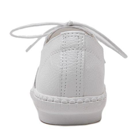 Online Simple Lace-Up and Solid Colour Design Athletic Shoes For Women - 38 WHITE Mobile
