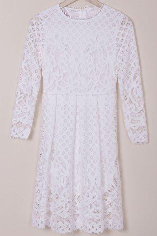 Cheap Long Sleeve Hollow Out Lace Summer Wedding Tea Length Dress WHITE M