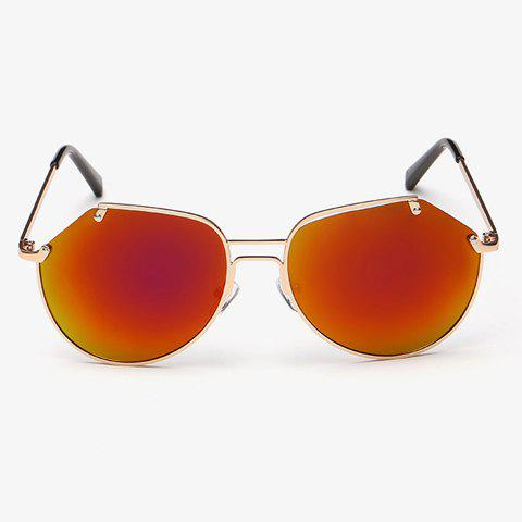 Unique Stylish Irregular Lenses Golden Metal Sunglasses For Men