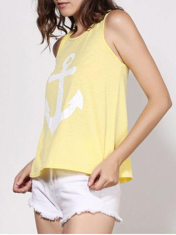 Latest Stylish Scoop Neck Sleeveless Printed Bowknot Embellished Women's Tank Top - M YELLOW Mobile