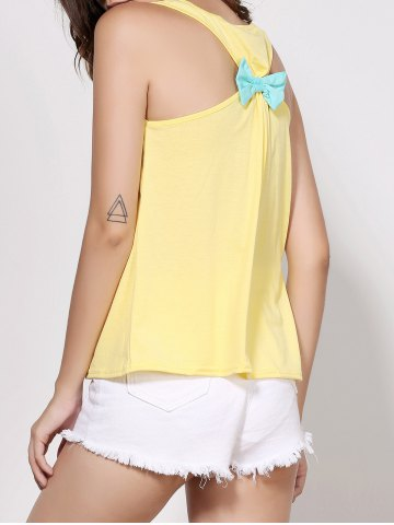 Best Stylish Scoop Neck Sleeveless Printed Bowknot Embellished Women's Tank Top - M YELLOW Mobile