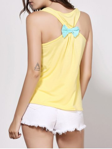 Fancy Stylish Scoop Neck Sleeveless Printed Bowknot Embellished Women's Tank Top - M YELLOW Mobile